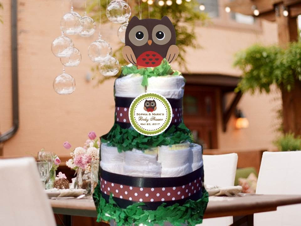 Owl Forest Animals Woodland Baby Shower Two Tiered Diaper Cake