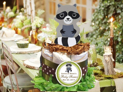 Woodland Creatures Forest Hugging Raccoon Diaper Cake Centerpiece