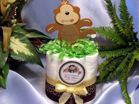 Baby Shower Monkey Jungle Safari Diaper Cake Centerpiece