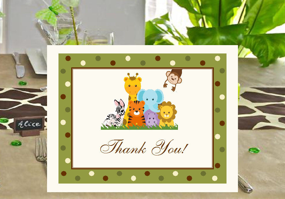Jungle Safari Animal Baby Shower Thank You Cards Pavia Party Favors