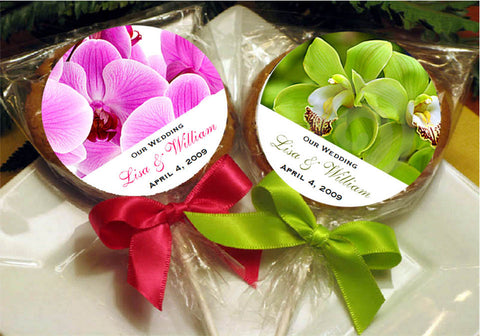 Orchid Tropical Wedding Cookie Pops Favors