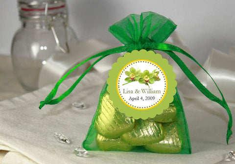 Orchid Tropical Green Sheer Organza Fabric Tulle Bags
