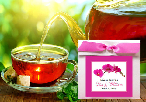 Orchid Tropical Tea Bag Party Favors