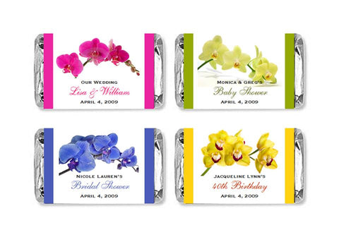 Orchid Tropical Mini Candy Wrappers Labels Stickers Favors
