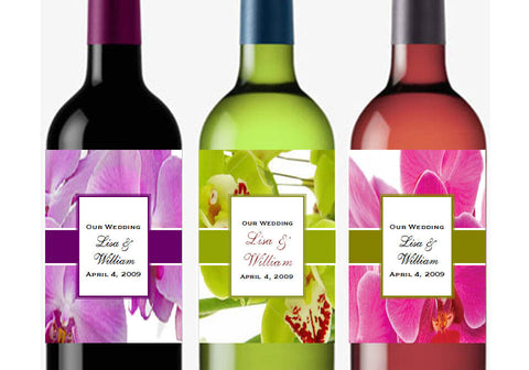 Orchid Tropical Classic Large Wine Bottle Labels Stickers