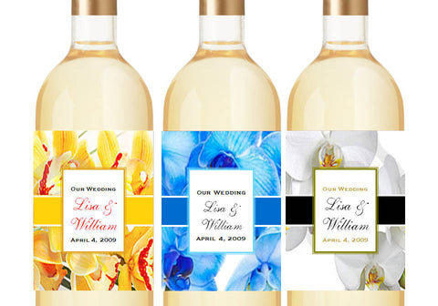 Orchid Tropical Classic Small Wine Bottle Labels Stickers