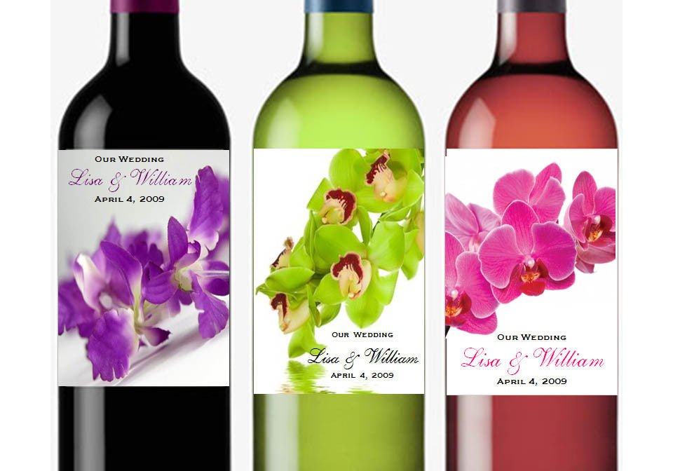 Orchid Tropical Cascading Small Wine Bottle Labels Stickers