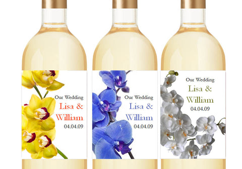 Orchid Tropical Cascading Large Wine Bottle Labels Stickers