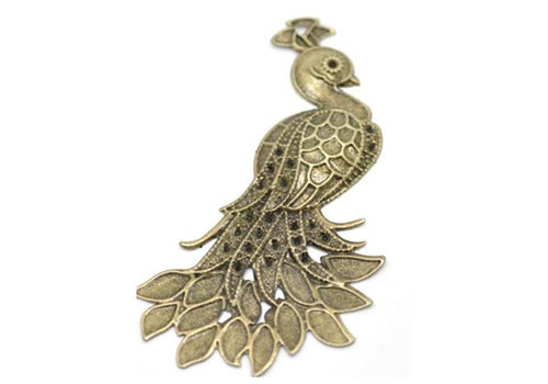 Peacock Bird Antique Bronze Charm Pendant Jewelry Wholesale - $2.50 for 10 pieces