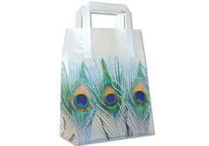 Peacock Feathers Wedding Frosted Bags Totes - Medium