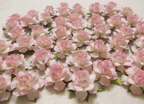 Pink Vintage Paper Flower Roses Bulk Craft Supplies - Set of 10