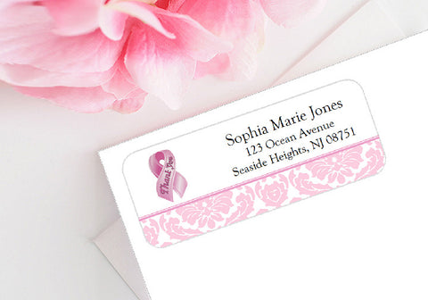 Think Celebrate Wear Pink Ribbon Mailing Address Labels Stickers