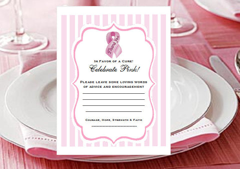 Think Celebrate Wear Pink Ribbon Advice Wish Cards