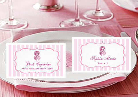 Think Celebrate Wear Pink Ribbon Buffet Place Cards