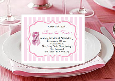 Think Celebrate Wear Pink Ribbon Save the Date Cards