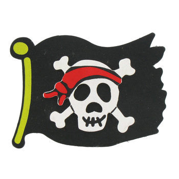 Pirate Black Flag with Skull Painted Wood Diaper Cake Topper