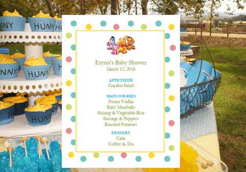 Winnie the Baby Pooh and Friends Baby Shower Menu Cards