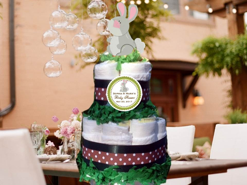 Rabbit Bunny Forest Animals Woodland Baby Shower Two Tiered Diaper Cake Centerpieces