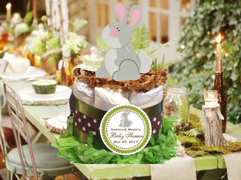 Woodland Creatures Forest Bunny Rabbit Diaper Cake Centerpiece