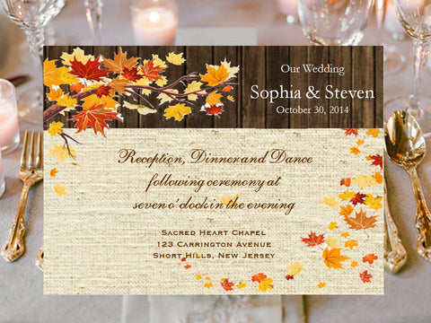 Autumn Fall Burlap and Lace Reception Cards