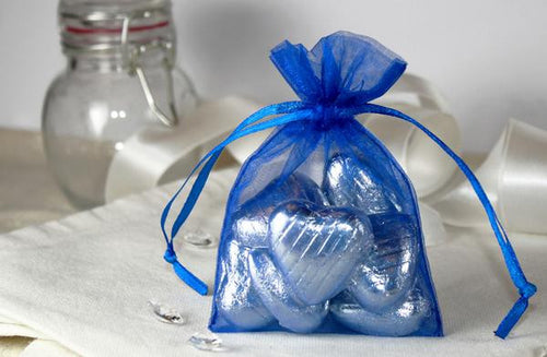 10 ROYAL BLUE Organza Fabric Favor Bags
