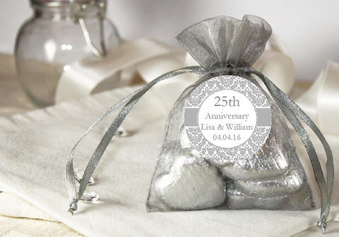 Silver 25th Anniversary Gift Organza Fabric Favor Bags