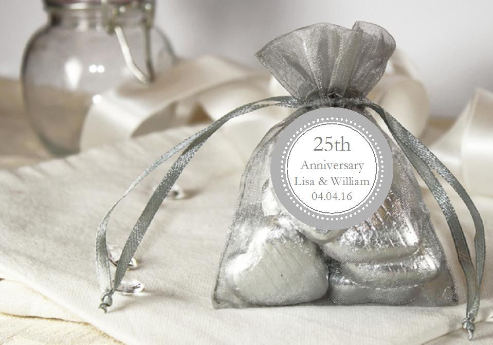 Silver 25th Anniversary Gift Organza Fabric Favor Bags Pavia Party