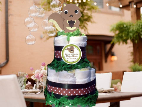 Squirrel Forest Animals Woodland Baby Shower Two Tiered Diaper Cake Centerpieces