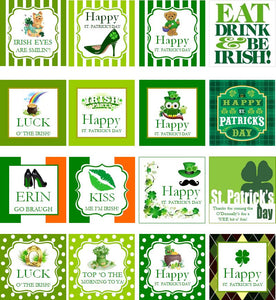 St. Patrick's Day Party Square Favor Gift Tags