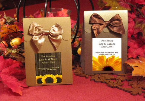 Sunflower Country Rustic BROWN or GOLD Candy Shoppe favor boxes bags