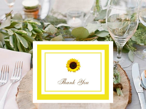 Sunflower Country Rustic Thank You Cards Notes