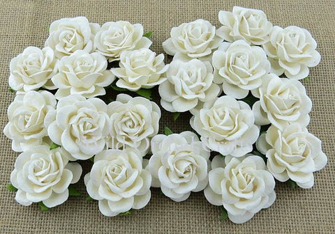 White Vintage Wedding Paper Flower Roses Bulk Craft Supplies - Set of 10