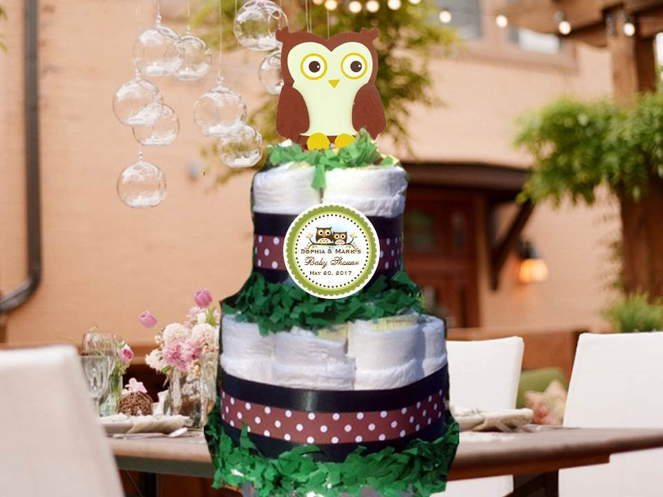 Wise Owl Woodland Forest Baby Shower Two Tiered Diaper Cake