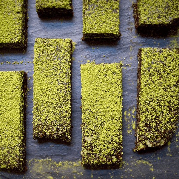 Dark Chocolate Matcha Date Bars