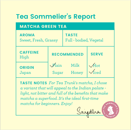 Tea Trunk Matcha Green Tea. Tea Sommelier