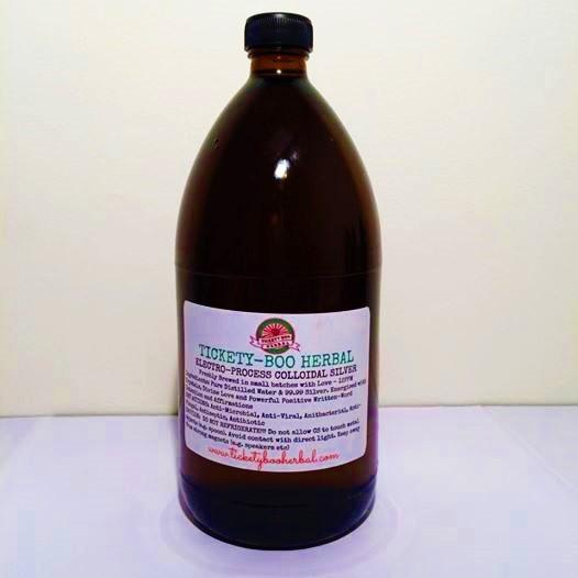 'ELECTRO-PROCESS COLLOIDAL SILVER' BY TICKETY-BOO HERBAL ... @$33-1LITRE AMBER GLASS BOTTLE (12PPM)