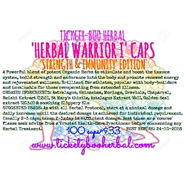 'HERBAL WARRIOR I' CAPS- 'STRENGTH & IMMUNITY' EDITON ...  60 CAPS @$22, 100 CAPS @$33