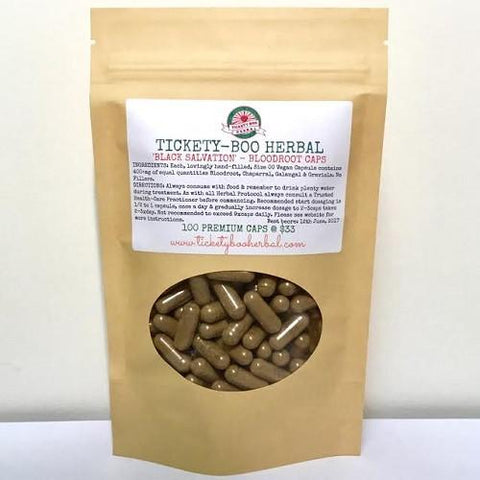 'BLACK SALVATION'- ... TRIPLE-STRENGTH CAPSULE BLEND OF BLOODROOT, CHAPARRAL, GALANGAL & GRAVIOLA