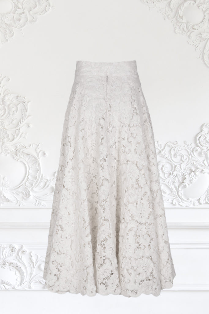 Wool Embroidered Lace Skirt