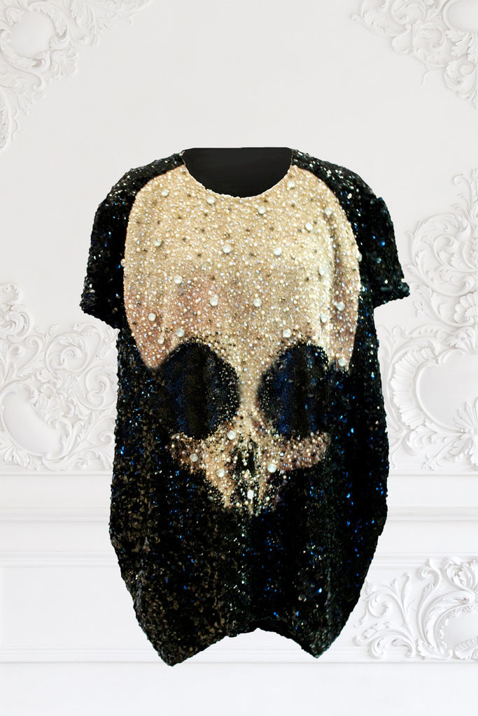 Oversized Sequin-Beaded Organza Skull Top