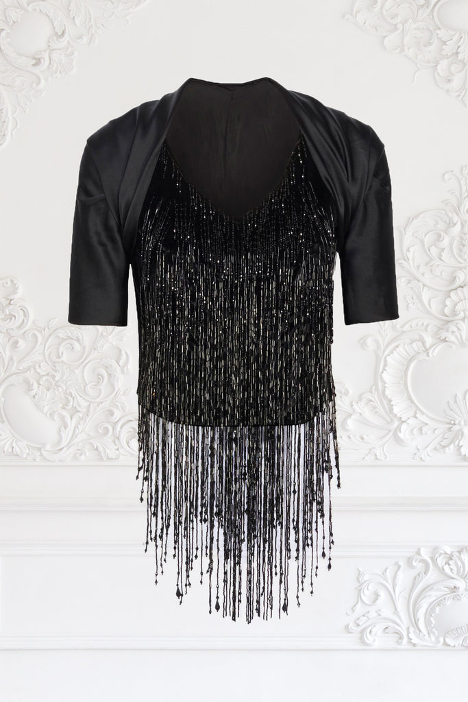 Beaded Fringe Vest With Bolero