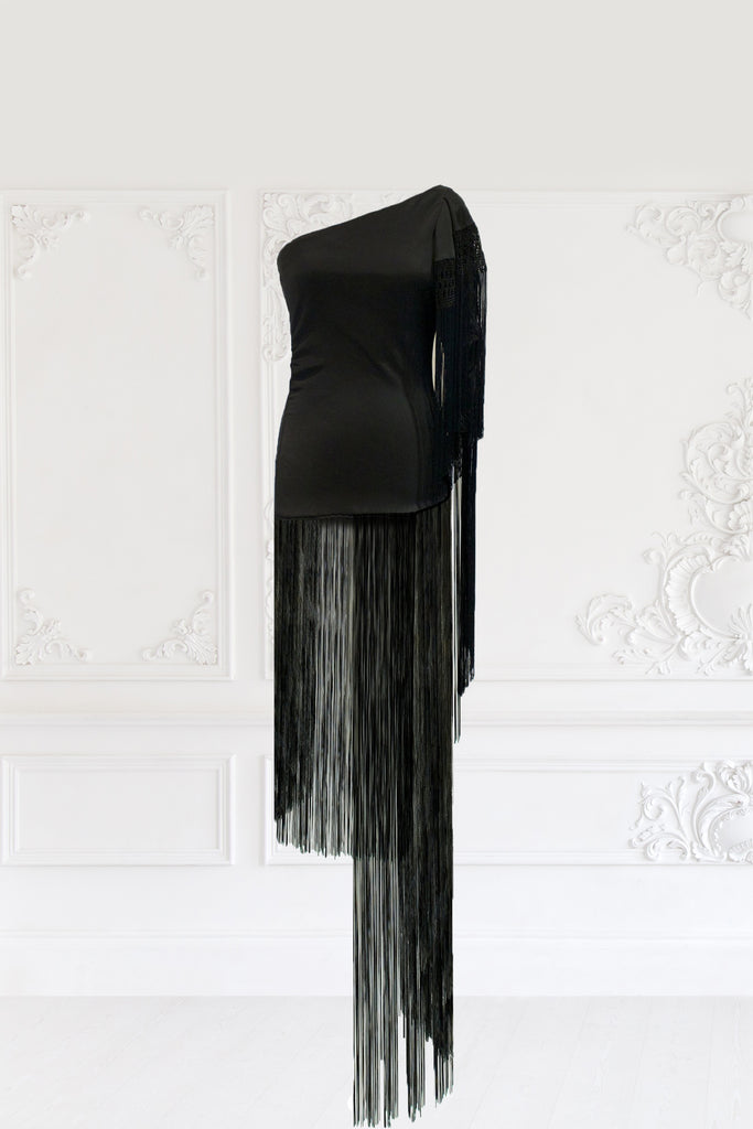 Macrame Fringe Asymmetric Dress