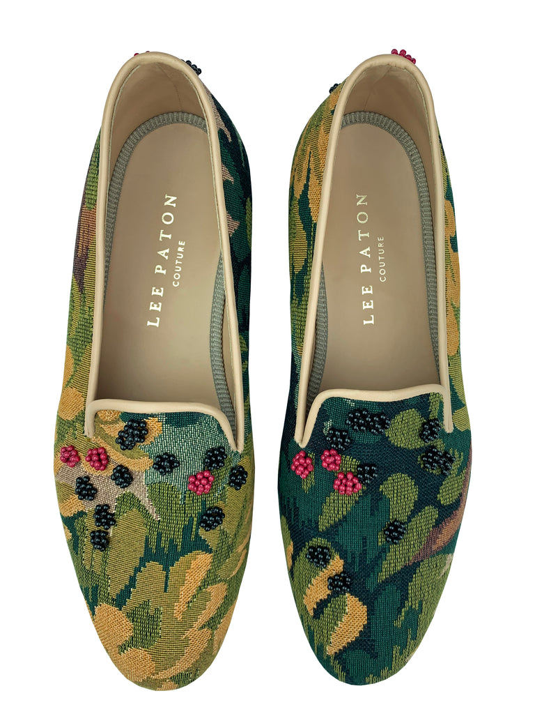Finely crafted Lee Paton Bespoke Couture Women's verdure tapestry British slipper, handmade in England. Classic and historic, beautifully finished using couture hand-embroidery techniques in Swarovski crystal pearls.