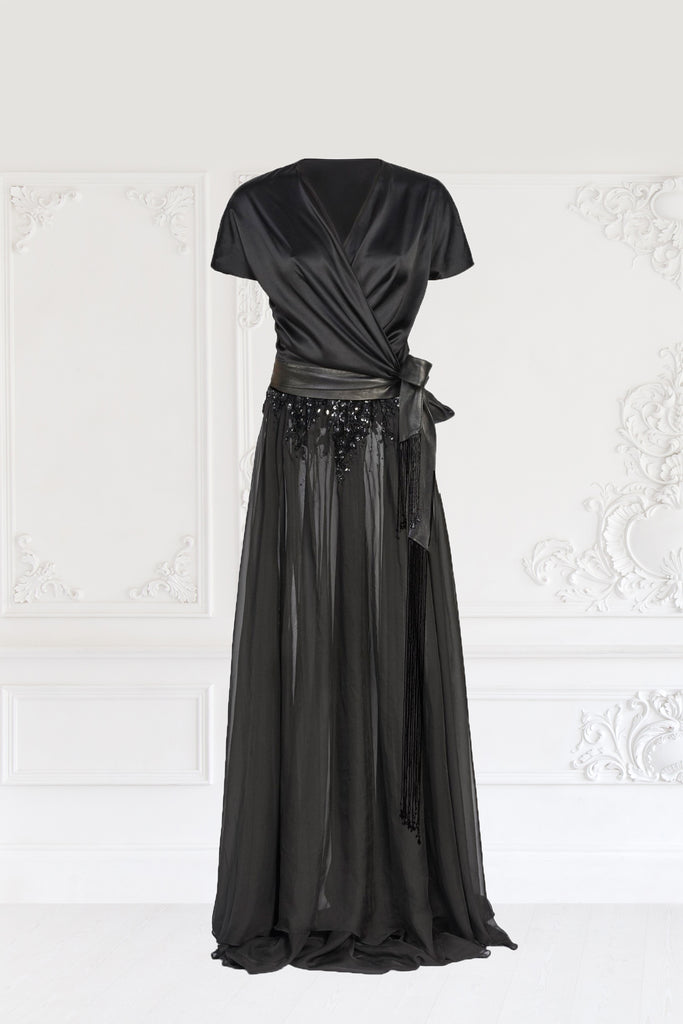 Silk Wrap Dress with Sequin and Beaded Detail