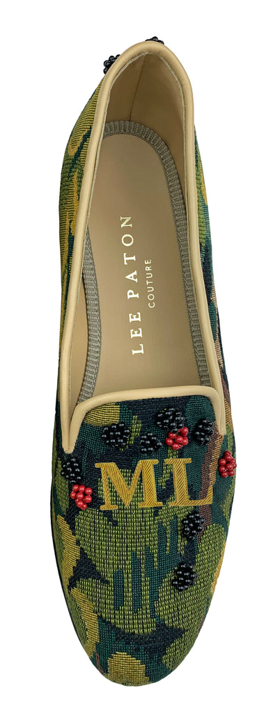 Finely crafted Lee Paton Bespoke Couture Women's verdure tapestry British slipper, handmade in England. Classic and historic, beautifully finished using couture hand-embroidery techniques in Swarovski crystal pearls. Monogrammed slippers available.
