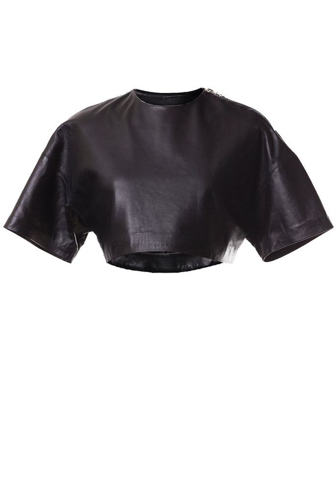 Zipper Cropped Leather T-shirt Black