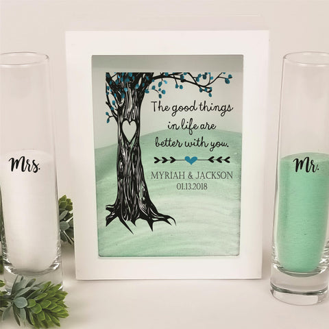 Unity Sand Ceremony Set White Shadow Box - The good things in life are  better with you - Tree