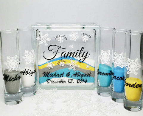 Sand Ceremony Wedding.Snow Flake Themed Sand Set Blended Family Unity Sand Set Wedding Sand Ceremony Set