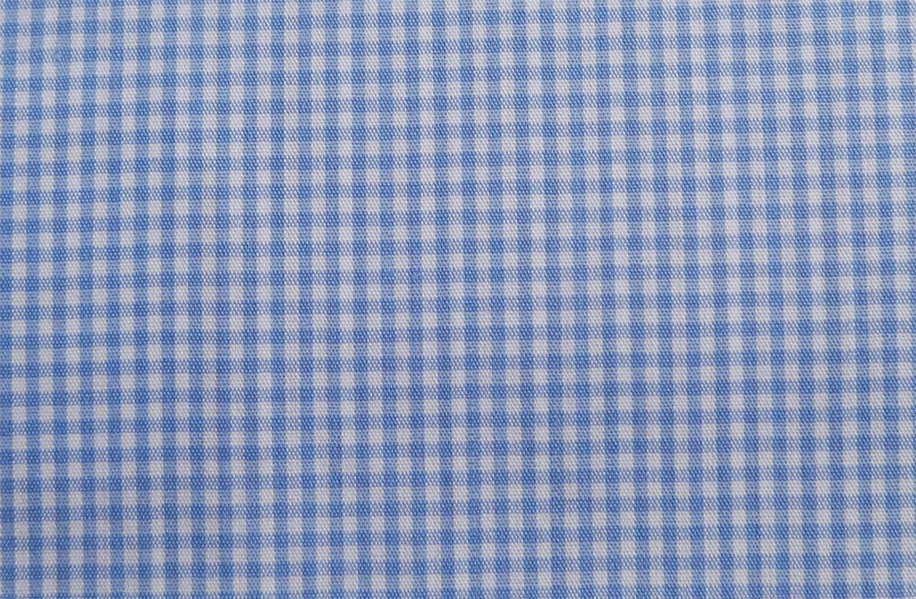 White with mini blue squares, by Poplin