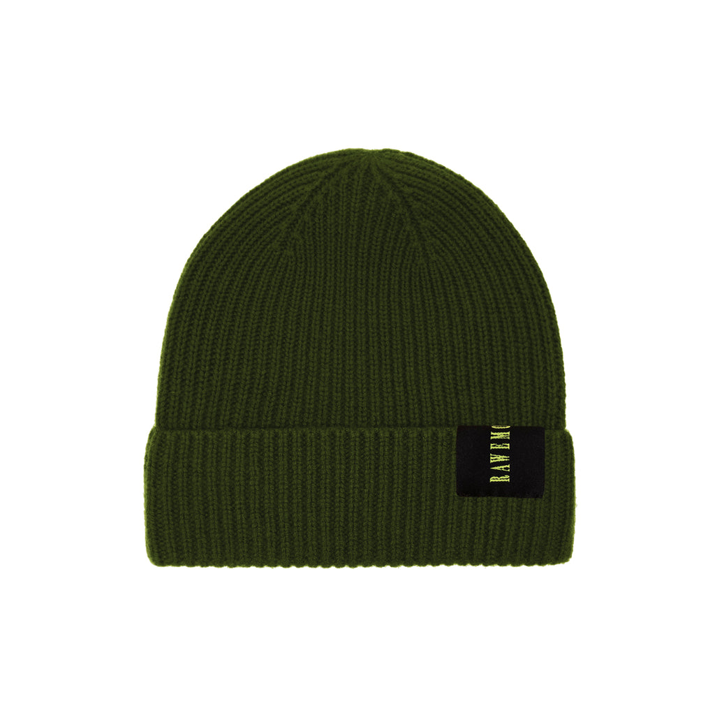 Olive Rawemotions Label Knit Beanie